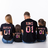 King 01 Queen 01 Prince 01 Princess 01, Floral Pattern, Family Matching Set of Shirts