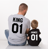 King 01 Queen 01 Prince 01, Family Matching Set of Shirts