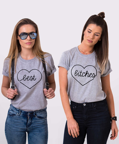 Best Bitches Set of 2 BFF T-shirts, Best Bitches Set of 2 BFF Shirts 100% cotton Tee, Gray, UNISEX