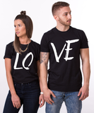 LOVE Couples T-shirt Set, LOVE Couples Shirt Set, 100% cotton Tee, Black, UNISEX