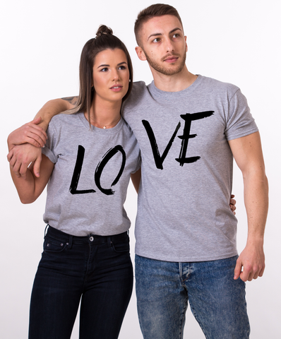 LOVE Couples shirts, LOVE Couples t-shirts, 100% cotton Tee, Gray, UNISEX