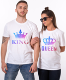 King Queen Big Crowns, Galaxy Pattern, Couple Matching Set of Shirts