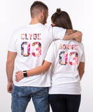 Bonnie 03 Clyde 03, Floral Pattern, Couple Matching Set of Shirts