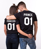 Prince 01 Princess 01, Couples Matching Set of Shirts