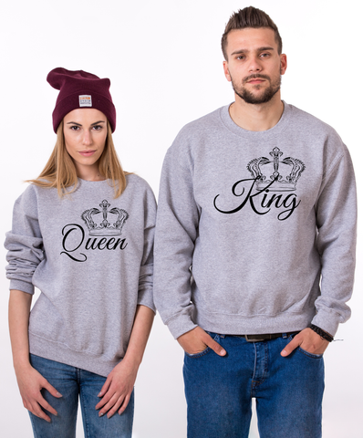 af49c564 King Queen, Big Royal Crowns, Couples Matching Set of Sweatshirts – Epic  Tees 4 You