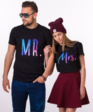 Mr Mrs, Galaxy Pattern, Couple Matching Set of Shirts