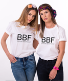 BBF Best Blonde/Brunette Friend Set of 2 BFF T-shirts - White, best bitches bff shirts 100% cotton Tee, White, Unisex