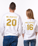 Mr Perfect, Mrs Perfect, Couples Matching Set of Sweatshirts