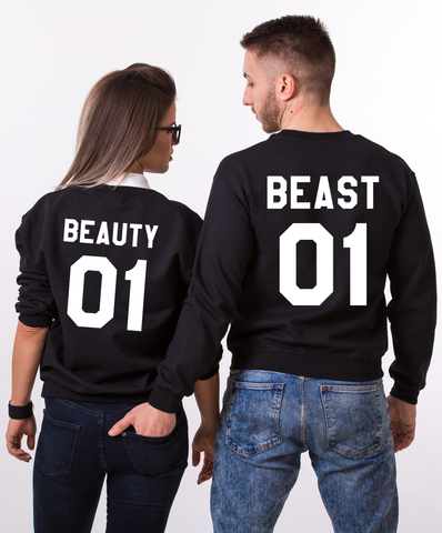 Beauty 01 Beast 01, Couples Matching Set of Sweatshirts