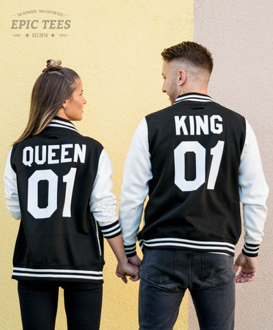 King 01 Queen 01 Varsity Jackets Matching Set for Couples