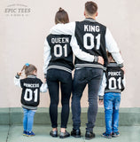 King 01 Queen 01 Prince 01 Princess 01 Varsity Jackets, Family Matching Set of Jackets