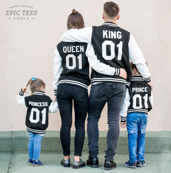 3661f966f5 King 01 Queen 01 Prince 01 Princess 01 Varsity Jackets, Family Matching Set  of Jackets