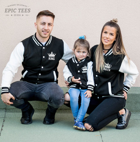 King 01 Queen 01 Princess 01 Varsity Jackets, Family Matching Set of Jackets