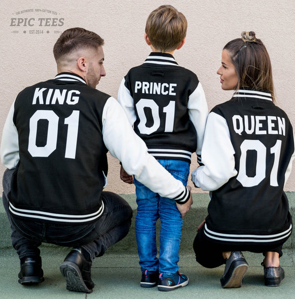 4d8ba4f1da King 01 Queen 01 Prince 01 Varsity Jackets, Family Matching Set of Jackets