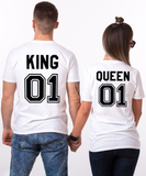 King and Queen 01 Couples T-shirt Set, King and Queen shirts, 01 Couples Shirt Set, 100% cotton Tee, Outlined, UNISEX