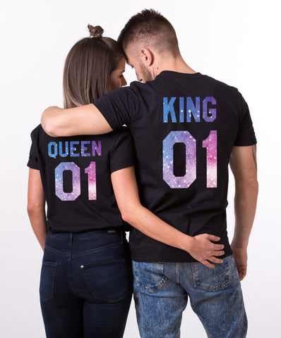 King 01 Queen 01, Galaxy Pattern, Couple Matching Set of Shirts