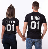King and Queen 01 Couples T-shirt Set, King and Queen shirts, 01 Couples Shirt Set, 100% cotton Tee, Black/White, UNISEX sizing