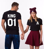 King 01 Queen 01, Double Print, Custom Pocket Initials, Couples Matching Set of Shirts