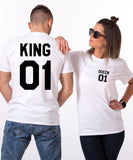 King 01 Queen 01 Pocket Print and Number, Couples Matching Set