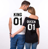 King and Queen 01 Couples T-shirt Set, King and Queen shirts, 01 Couples Shirt Set, 100% cotton Tee, Black/White, UNISEX