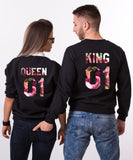 King 01 Queen 01, Rose Floral Print, Couples Matching Set of Sweatshirts