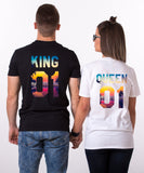 King 01 Queen 01, Tropical Pattern, Couple Matching Set of Shirts