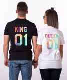 King 01 Queen 01, Watercolor Pattern, Couple Matching Set of Shirts