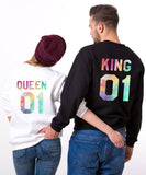 King 01 Queen 01, Watercolor Print, Couples Matching Set of Sweatshirts