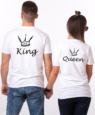 King and Queen Couples T-shirt Set, King and Queen Couples Shirt Set, 100% cotton Tee, White, UNISEX