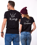 King and Queen Couples T-shirt Set, King and Queen Couples Shirt Set, 100% cotton Tee, Black, UNISEX