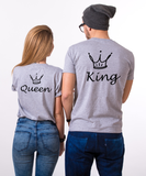 King and Queen Couples T-shirt Set, King and Queen Couples Couples Shirt Set, 100% cotton Tee, Gray, UNISEX