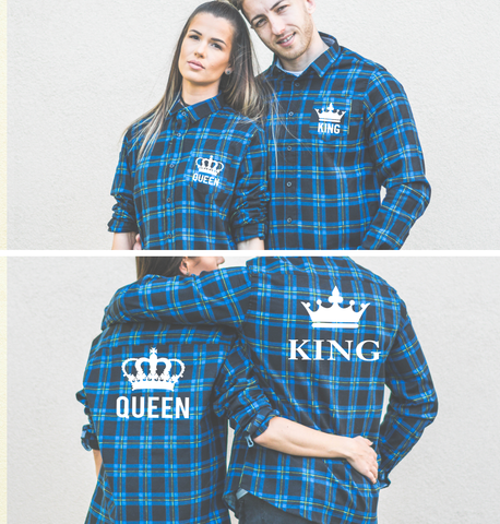 King Queen, Big Crowns, Plaid Shirts Matching Set for Couples