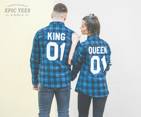 King 01 Queen 01 Blue Plaid Shirts Matching Set for Couples