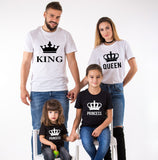 King Queen Prince Princess with crowns, Family Matching Set of Shirts