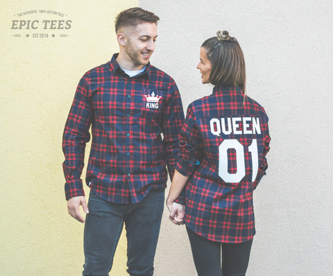 King 01 Queen 01 Red Plaid Shirts Matching Set for Couples