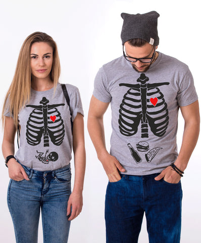 Halloween Skeleton Shirts, Maternity Shirt, Couples Matching Set