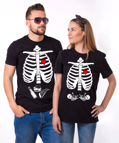 Maternity Twins, Halloween Skeleton Shirts, Couples Matching Set