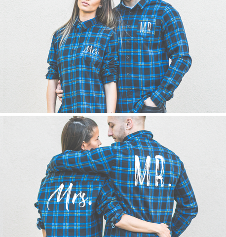 Mr Mrs, Plaid Shirts Matching Set for Couples