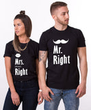 Mr Right Mrs Always Right, Couples Matching Set of Shirts