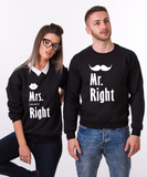 Mr. Right, Mrs. Always Right, Couples Matching Set of Sweatshirts