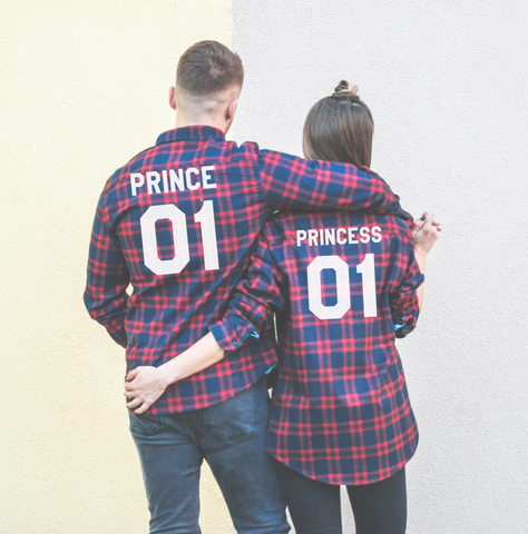 Prince 01 Princess 01, Plaid Shirts Matching Set for Couples