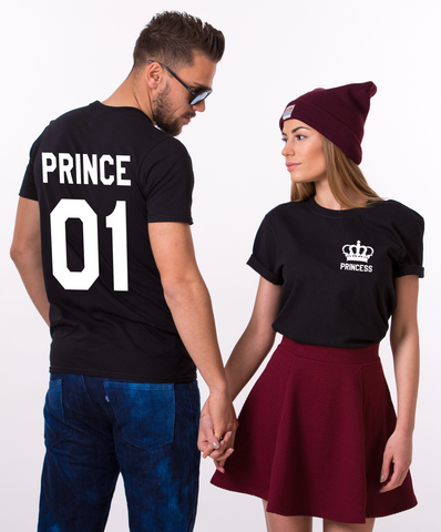 Prince 01 Princess 01, Pocket Crown, Couples Matching Set of Shirts