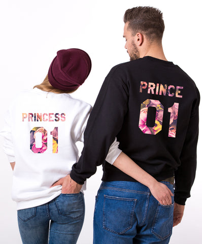 Prince 01 Princess 01, Floral Print, Couples Matching Set of Sweatshirts