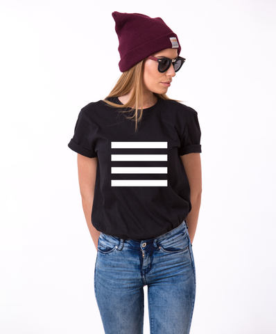 Stripes Black and White T-shirt, Stripes Black and White shirt, 100% cotton Tee, Black/White/Gray, UNISEX