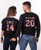 Together Since, Floral Print, Couples Matching Set of Sweatshirts
