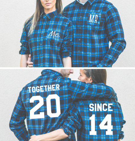Together Since, Plaid Shirts Matching Set for Couples