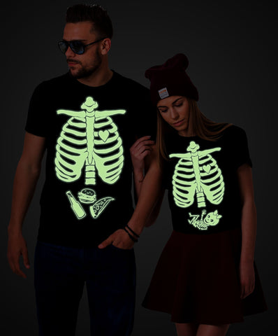 Glow in the dark, Halloween maternity shirts, Couples Shirts, Skeleton baby shirt, Baby Girl