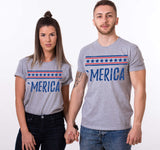 Merica, Couples Matching Set of Shirts, 4th of July Shirt