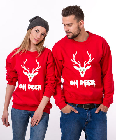 Oh deer, Oh deer Christmas sweatshirt, Oh deer sweatshirt, Matching couple Christmas sweatshirts, Christmas sweatshirt,  UNISEX
