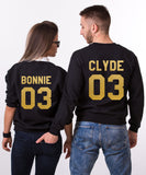 Bonnie Clyde 03 Set of 2 Couple Crewnecks, Bonnie Clyde 03 Set of 2 Couple Sweaters 100% cotton, UNISEX